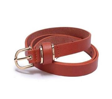 Leather Formal Belt For Ladies - Brown Color-CSB-284