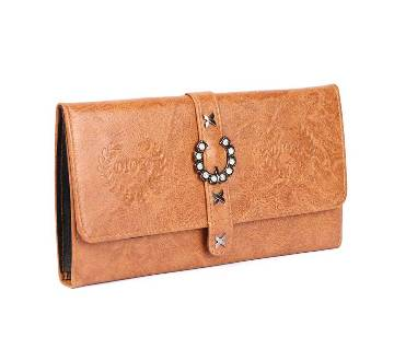 Women Hollow Out Leaf Long Clutch Purse Leather Wallet