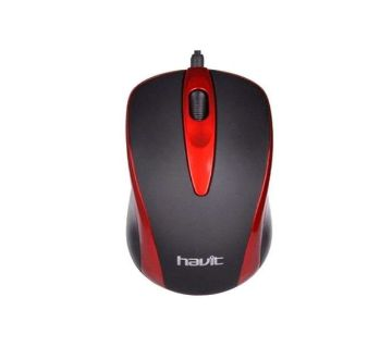 HV-MS753 Wired Mouse - Red and Black