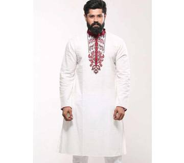 Mens Cotton Punjabi - White Red Ethnic Block Print