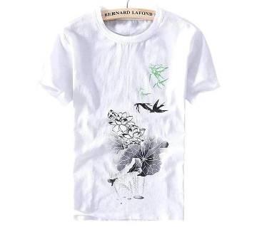Half Sleeve Cotton T-Shirt For Men  - White