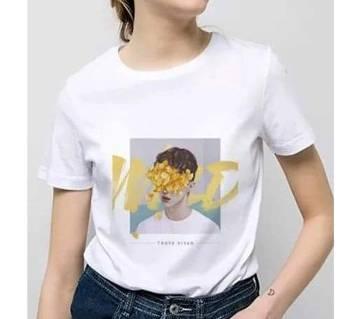Half Sleeve Cotton T-Shirt For Women - White