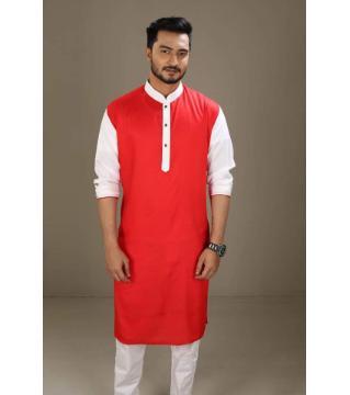 Boishakhi Cotton Punjabi for Men-Red