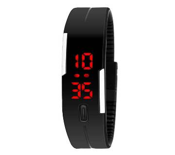 Silicon belt LED sports black watch