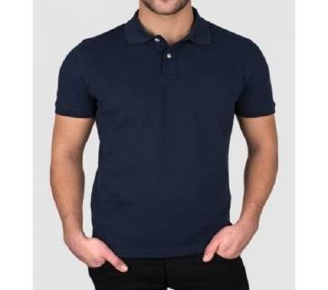Navy Blue Half Sleeve Polo Shirt For Men