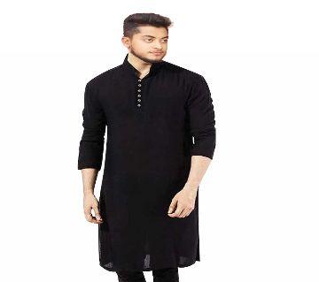 Semi Long Punjabi for Men-Black