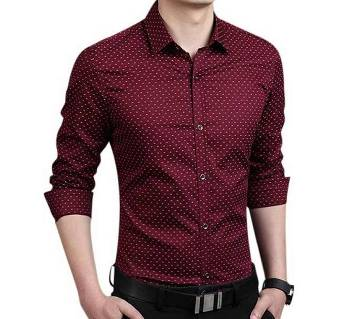 Maroon Ball Printed Formal Shirt for Men