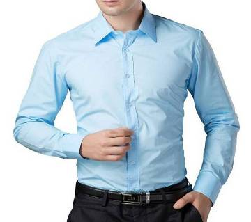 Light Sky Blue Cotton Formal Shirt for Men