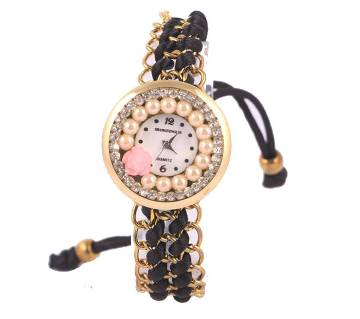 Ladies Bracelet type wrist Watch-Black
