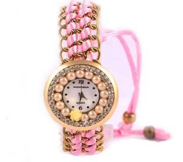 Ladies Bracelet type wrist Watch-Pink