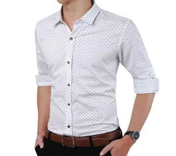 White Ball Print Cotton Formal Shirt for Men