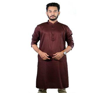 Stylish Semi Long Cotton Punjabi for Men - Maroon