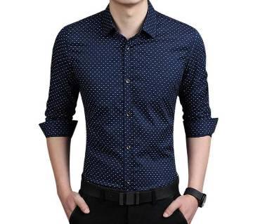 Navy Blue Ball Print Cotton Formal Shirt for Men