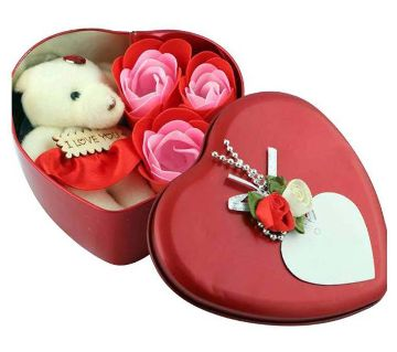 Valentine Day Love Gift -Heart Shape Gift Box (Flowers With Soft Teddy
