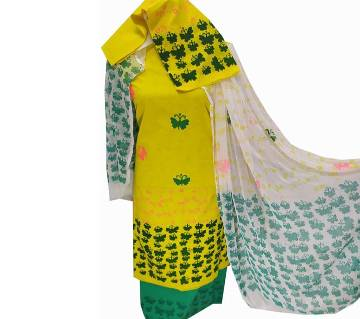 Unstitched Yellow Color Cotton screen Printed Salwar Kameez for Women