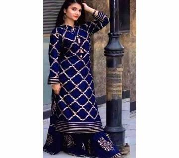 Screen and Block Print Unstitched Three Piece For Women
