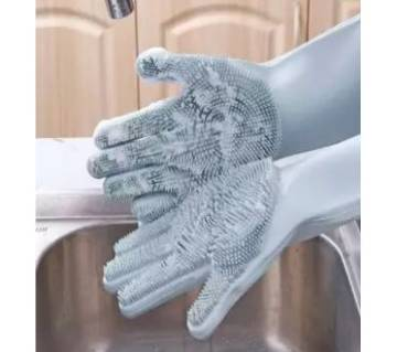 Silicone Cleaning Gloves with Wash1