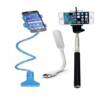 Long Mobile Stand + Selfie Stick + LED Light Multicolor- GNG1