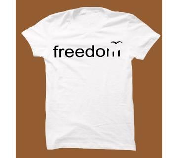 White Cotton Short Sleeve T-Shirt for Men