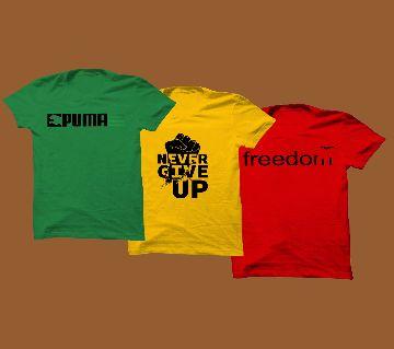 Red, yellow green 3pcs cotton combo T-shirt