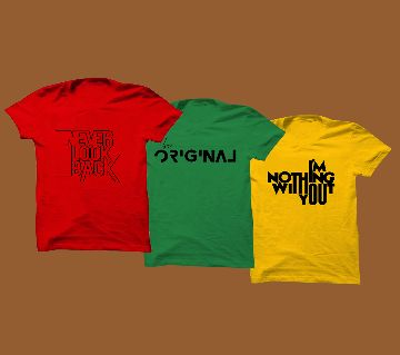 3 color half sleeve cotton Combo T-shirt