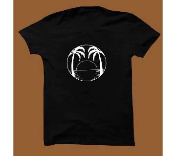 Black Cotton Short Sleeve T-Shirt for Men BTS009