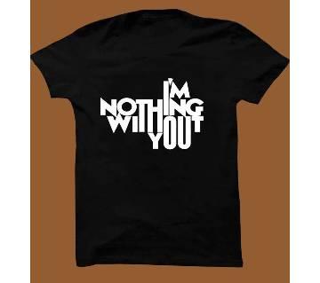 Black  Cotton Short Sleeve T-Shirt for Men BTS014