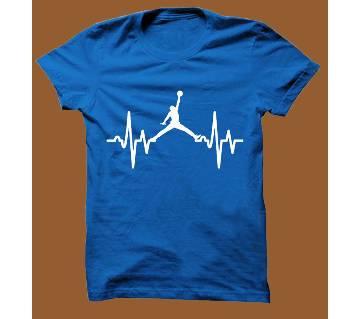 Royel Blue Cotton Short Sleeve T-Shirt for Men RBTS005