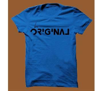 Royel Blue Cotton Short Sleeve T-Shirt for Men RBTS006