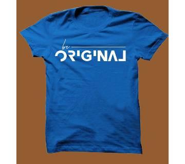 Royel Blue Cotton Short Sleeve T-Shirt for Men RBTS007