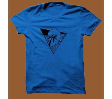 Royel Blue Cotton Short Sleeve T-Shirt for Men RBTS009
