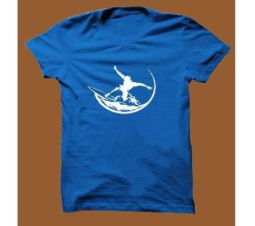 Royel Blue Cotton Short Sleeve T-Shirt for Men RBTS013