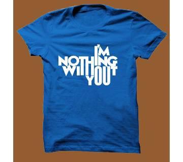 Royel Blue Cotton Short Sleeve T-Shirt for Men RBTS016