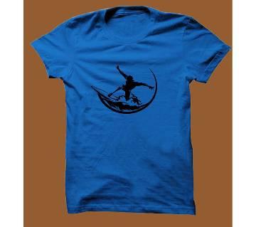 Royel Blue Cotton Short Sleeve T-Shirt for Men RBTS018