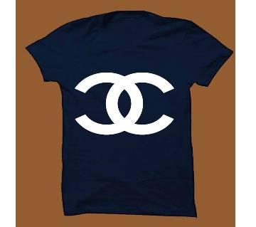 Navy Blue Cotton Short Sleeve T-Shirt for Men NBTS005
