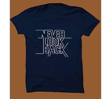 Navy Blue Cotton Short Sleeve T-Shirt for Men NBTS006