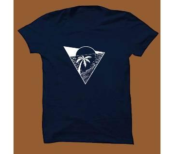 Navy Blue Cotton Short Sleeve T-Shirt for Men NBTS008