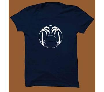 Navy Blue Cotton Short Sleeve T-Shirt for Men NBTS011