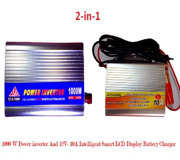 2 in 1 Combo Offer- 1000 W Power Inverter & 12V- 10A Intelligent Smart LCD Display Battery Charger
