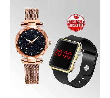 WATCH COMBO FOR COUPLE - Golden