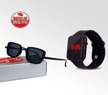 Rayban Mens Sunglass-copy and Samrt Watch Combo Offer