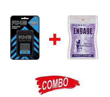 AXE Pocket Perfume Champion for Men 17 ml + Engage on (Sweet Blossom) ladies body spray 18ml combo