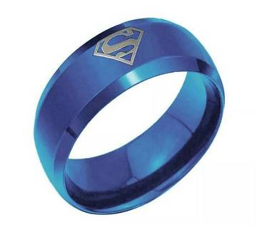 Blue Superman Mens Finger Ring