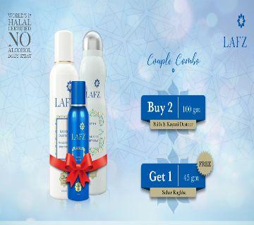 Buy 2, Get 1 FREE - LAFZ Couple Combo Halal Body Spray (Kayani Dastoor 100gm + Faith 100gm), Sahar Raghba 45gm FREE - BD