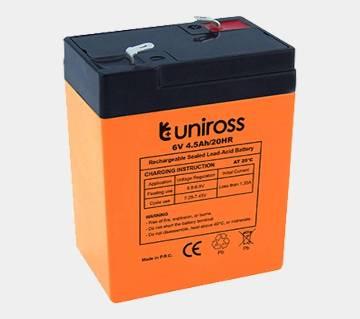 Rechargeable Battery Uniross Lead Acid Battery 6V 4.5Ah