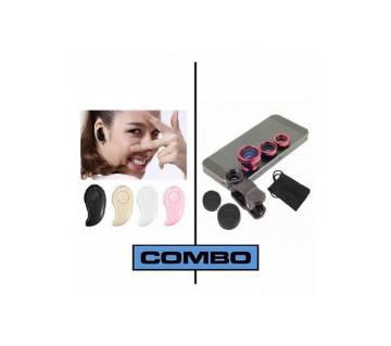 Combo Wireless Bluetooth Earphone & Clip-Lens