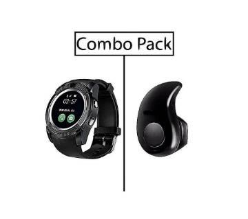 V8 Smart Watch and S530 Mini Bluetooth Earphone Combo
