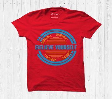 Believe Yourself Cotton Half Sleeve T Shirt For Men