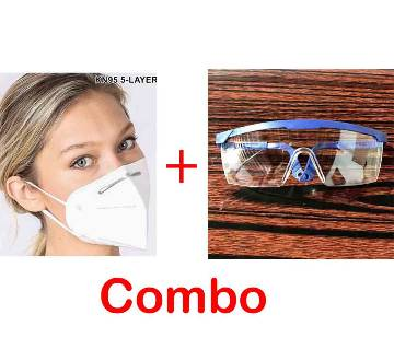 KN95 5-Layer Protective Respirator Mask + EYE SAFETY GLASS – BLUE Combo Offer