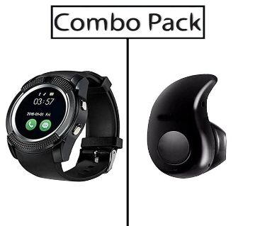 v8 Smart Watch simSupported+ Bluetooth Earphone Combo